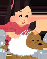 シャンプーしている犬のイラスト