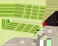 名義変更する通帳とお金のイラスト