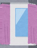 デニムを試着する試着室のイラスト