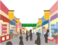 大学の近くの商店街のイラスト