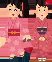 浴衣を着た女性と着物を着た女性のイラスト