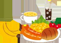 朝ご飯とフルーツのイラスト