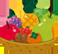 カゴに盛られたフルーツのイラスト