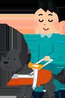 ラブラドール・レトリバーが盲導犬として働いているイラスト