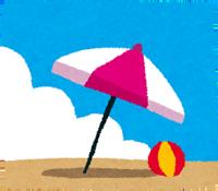 砂浜とパラソルのイラスト