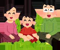 芝生でくつろぐ家族のイラスト