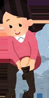 着圧ソックスを履いている女性のイラスト